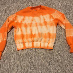Cropped Orange and White Tie Dye Sweatshirt